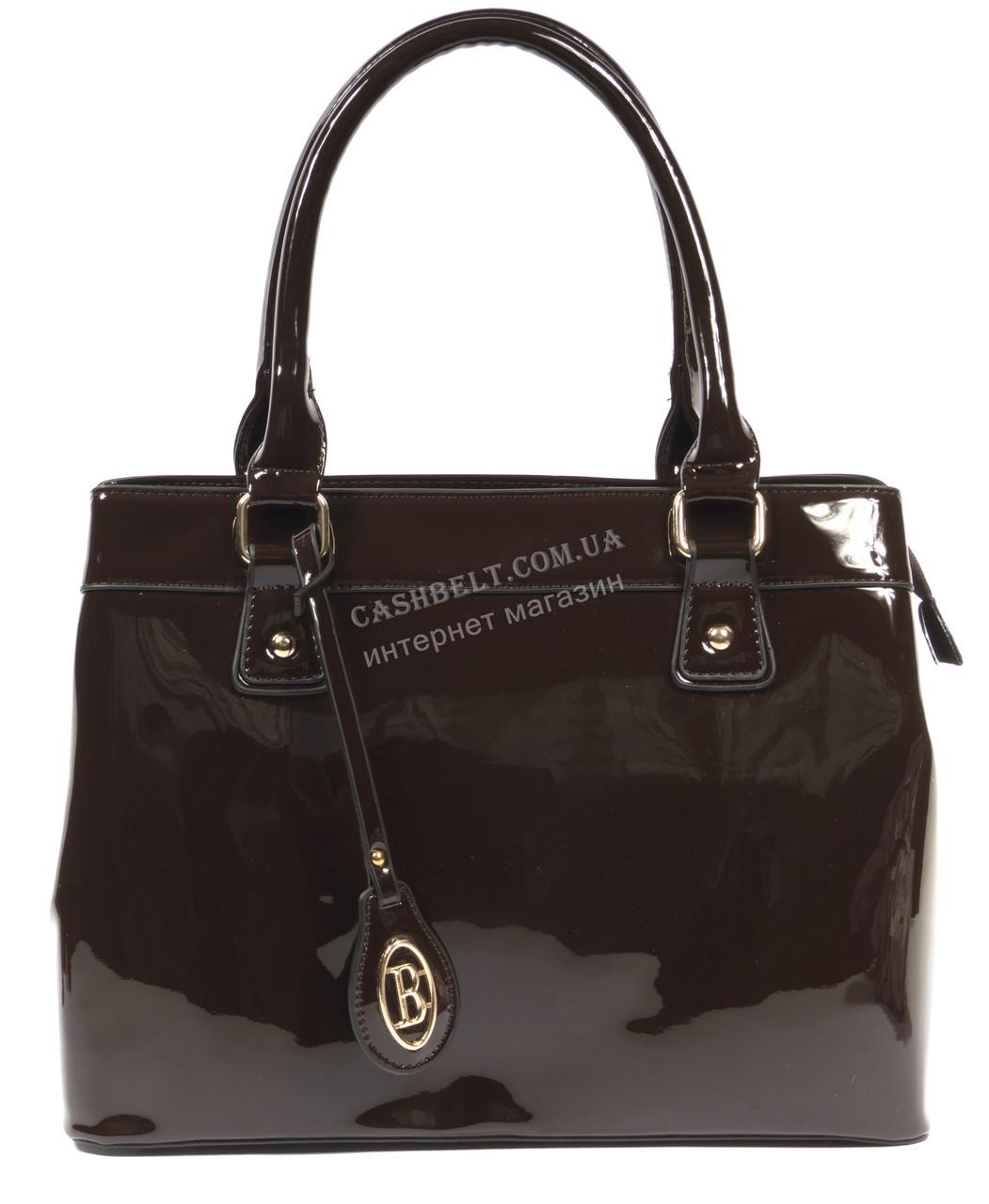 Каркасная лаковая женская сумка коричневого цвета art.95001