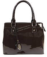 Каркасная лаковая женская сумка коричневого цвета art.95001, фото 1