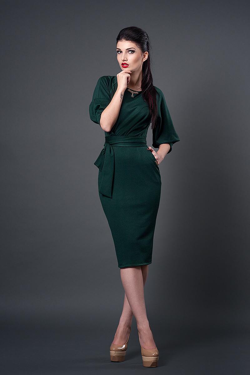 Платье мод №256-5, размеры 44 темно-зеленый