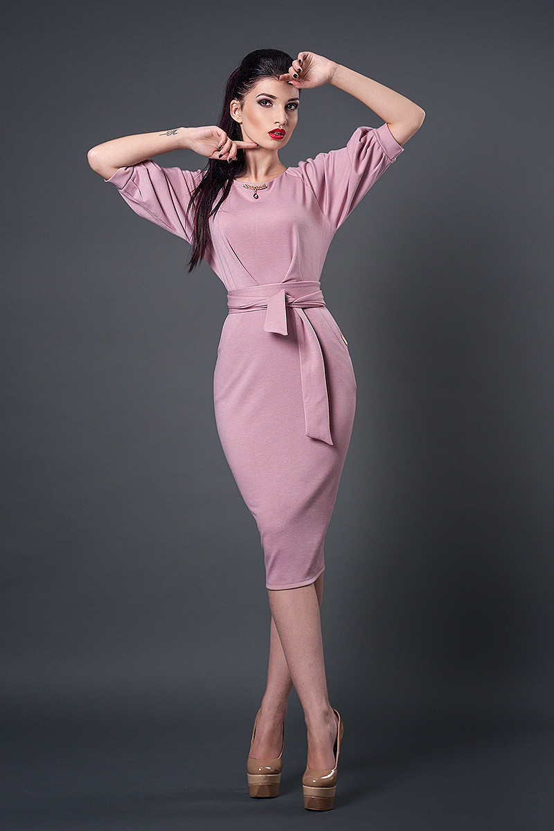 Платье мод №256-6, размеры 40.50 розовый кварц