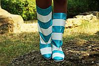 Женские полосатые бело/голубые кожаные сапожки. Арт-0603