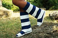Женские полосатые сине/белые кожаные сапожки. Арт-0603