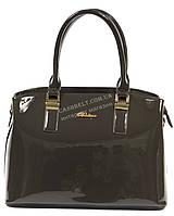 Каркасная лаковая женская сумка серого цвета art.95039