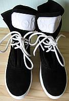 Sofi! Осенние женские ботинки натуральная замша черного цвета