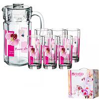 Набор для сока круглый (кувшин1,5л, стакан240мл) А орхидея ST 9049