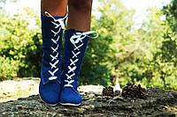 Женские джинсовые молодежные сапоги -ботинки на шнуровке. Арт-0604