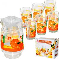 Набор для сока 7 эл. ( Кувшин 1,77л 6 стаканов 190мл) 6 Апельсин-new ST 904