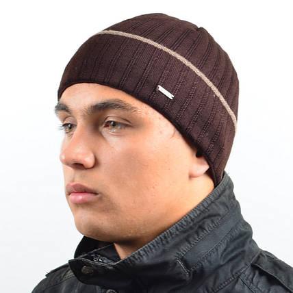 Мужская вязанная шапка NORD Коричневый + полоска, фото 2