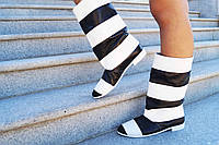 Женские полосатые черно/белые кожаные сапожки. Арт-0603