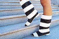 Женские полосатые черно/белые кожаные сапожки. Арт-0603, фото 1