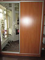Шафа купе 2 дверна, ДСП + Дзеркало з художнім матуванням , фото 1