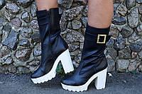 Женские стильные черные ботильоны из натуральной кожи. Арт-0609
