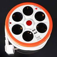 Сетевой фильтр Brille SF-6F/5ZV 3x1.50 2USB WH/OR