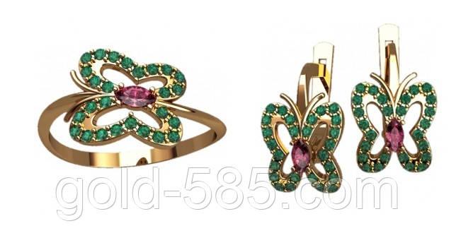 c74d1454f178 Превосходный золотой ювелирный набор 585  в форме бабочек - Мастерская  ювелирных украшений «GOLD-