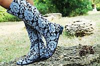 Женские осенние стильные высокие джинсовые сапоги. Арт-0611, фото 1