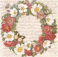 Салфетка для декупажа Венок из цветов с бабочками 6121
