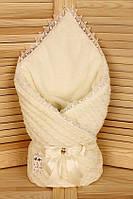 """Зимний вязанный конверт-одеяло  """"Фантазия"""" (подклад махра) айвори, фото 1"""