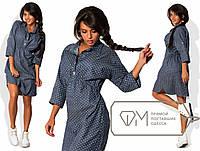 Платье джинсовое в горошек с завышенной талией 401 Норма! (НКН)
