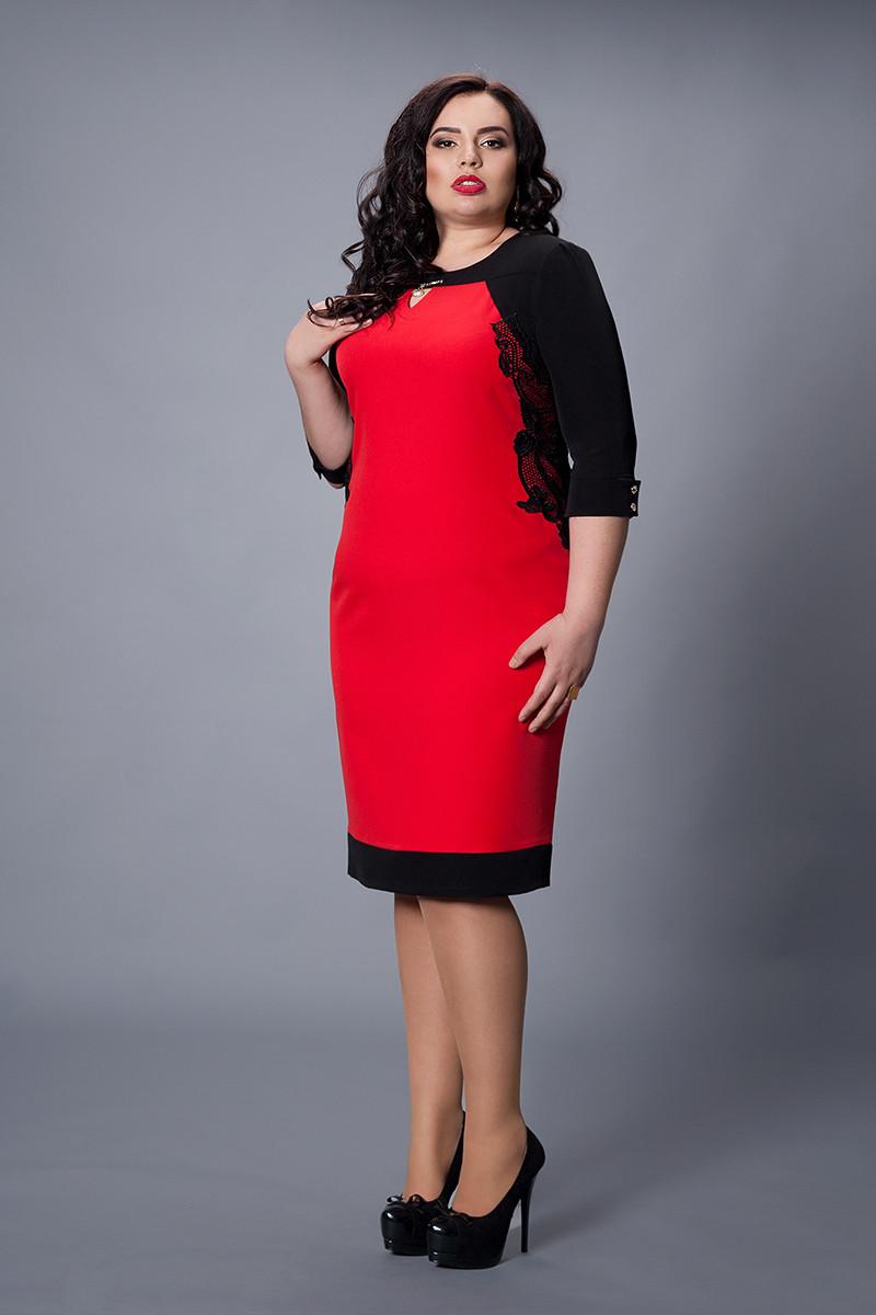 Платье мод.498-3, размер 50 красное