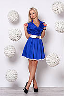 Яркое деловое платье из коттон-сатина и стильным поясом