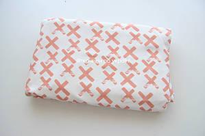 Трикотаж двунитка Персиковые плюсики на кремовом (футер)