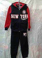 """Спортивный костюм подросток теплый для мальчика 7-11 лет,""""NEW YORK"""" черный с красным"""