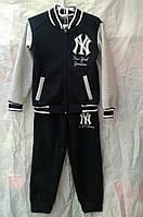 Спортивный костюм подросток теплый для мальчика 7-11 лет, черный с серым