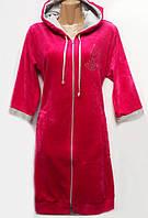 Красивый велюровый женский халат с узором
