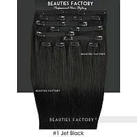 Набор натуральных волос на клипсах 50 см 150 грамм Beauties Factory оттенок 1 черный