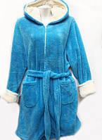 Махровый женский халат на молнии