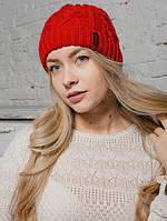 Шапка женская «Aran» красная Красный