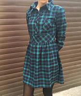 Короткое байковое платье рубашка в клетку