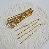 Шпильки , цвет золото, блестящие,  5 см
