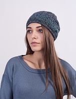 Красивая женская шапка из меланжевой пряжи 3023 (синий меланж)