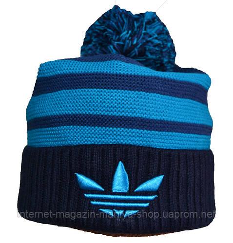 Шапка мужская теплая полоска Adidas