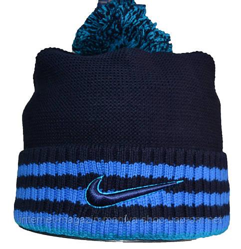 Шапка мужская теплая полоска Nike