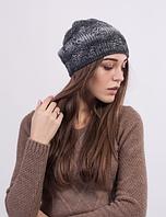Женская шапка из меланжевой пряжи 3023 (серый меланж)