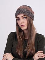 Модная шапочка из меланжевой пряжи 3023 (оранжевый меланж)