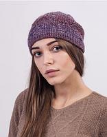 Теплая женская шапочка из меланжевой пряжи 3023 (лиловый меланж)