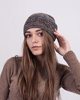 Оригинальная женская шапочка из меланжевой пряжи 3023 (коричневый меланж)