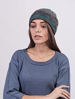 Недорогая женская шапка из меланжевой пряжи 3023 (бирюзовый меланж)