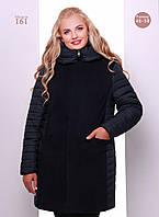 Женское комбинированное демисезонное пальто полуприлегающего силуэта с потайной застежкой