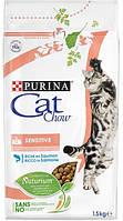 Cat Chow Sensitive для кошек с уязвимой системой пищеварения и чувствительной кожей, 1,5 кг