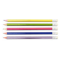 Олівець графітний, HB, шестигранний, з ластиком, металік в карт.коробці SK-6712