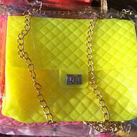 Женский клатч Шанель CHANEL силикон желтый неон