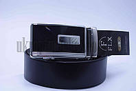 """Ремень мужской FLX кожа (гладкая) черный """"Remen"""" LM-638"""