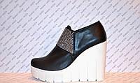 Туфли женские стильные на платформе натуральная кожа