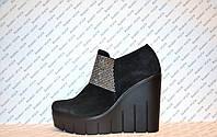 Туфли женские стильные на платформе натуральная замша