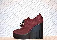 Туфли женские стильные замшевые бордового цвета