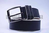 """Ремень мужской  кожзам, джинс черный с белой полоской """"Remen"""" LM-638"""